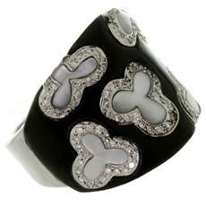 Diamond Black Onyx Mother-of-Pearl 18k White Gold Ring