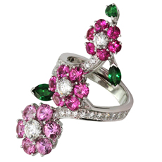 VAN CLEEF & ARPELS Folie des Près Pink Sapphire Diamond 18k White Gold Ring