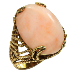Retro Natural Angel Skin Coral 14k Yellow Gold Hand-Made Ring