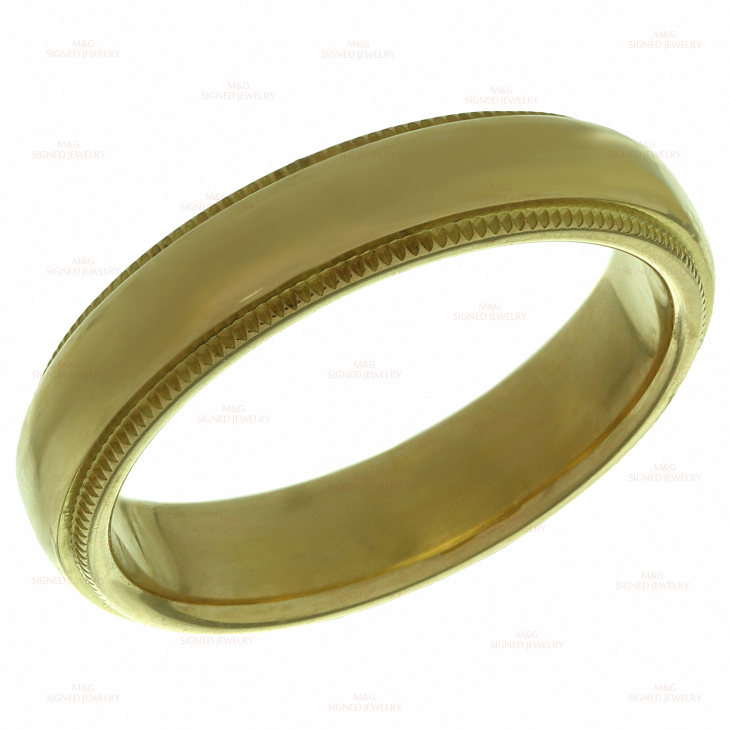 TIFFANY & CO. Milgrain 18k Yellow Gold Wedding Band Ring