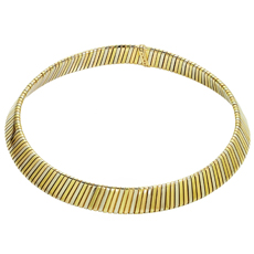 BULGARI Tubogas 18k Tri-Tone Gold Collar Necklace
