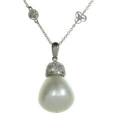 Diamond By The Yard South Sea Baroque Pearl 18k White Gold Pendant Necklace