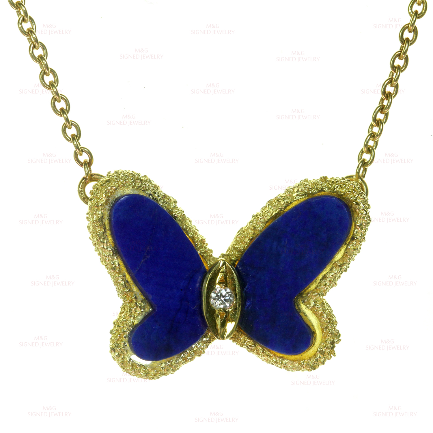 VAN CLEEF & ARPELS Diamond Lapis Lazuli 18k Yellow Gold Butterfly Pendant Necklace