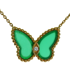 VAN CLEEF & ARPELS Diamond Green Chalcedony 18k Yellow Gold Butterfly Pendant Necklace