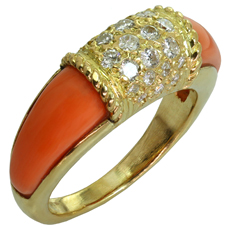 VAN CLEEF & ARPELS Philippine Diamond Pink Coral 18k Yellow Gold Ring