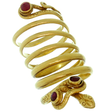 Vintage ZOLATAS Ruby 22k Yellow Gold Coiled Snake Ring
