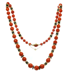 DAVID WEBB Natural Red Coral Bead Black Enamel 18k Yellow Gold Necklace