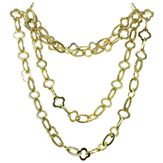 VAN CLEEF & ARPELS Byzantine Alhambra 18k Yellow Gold Long Chain Necklace