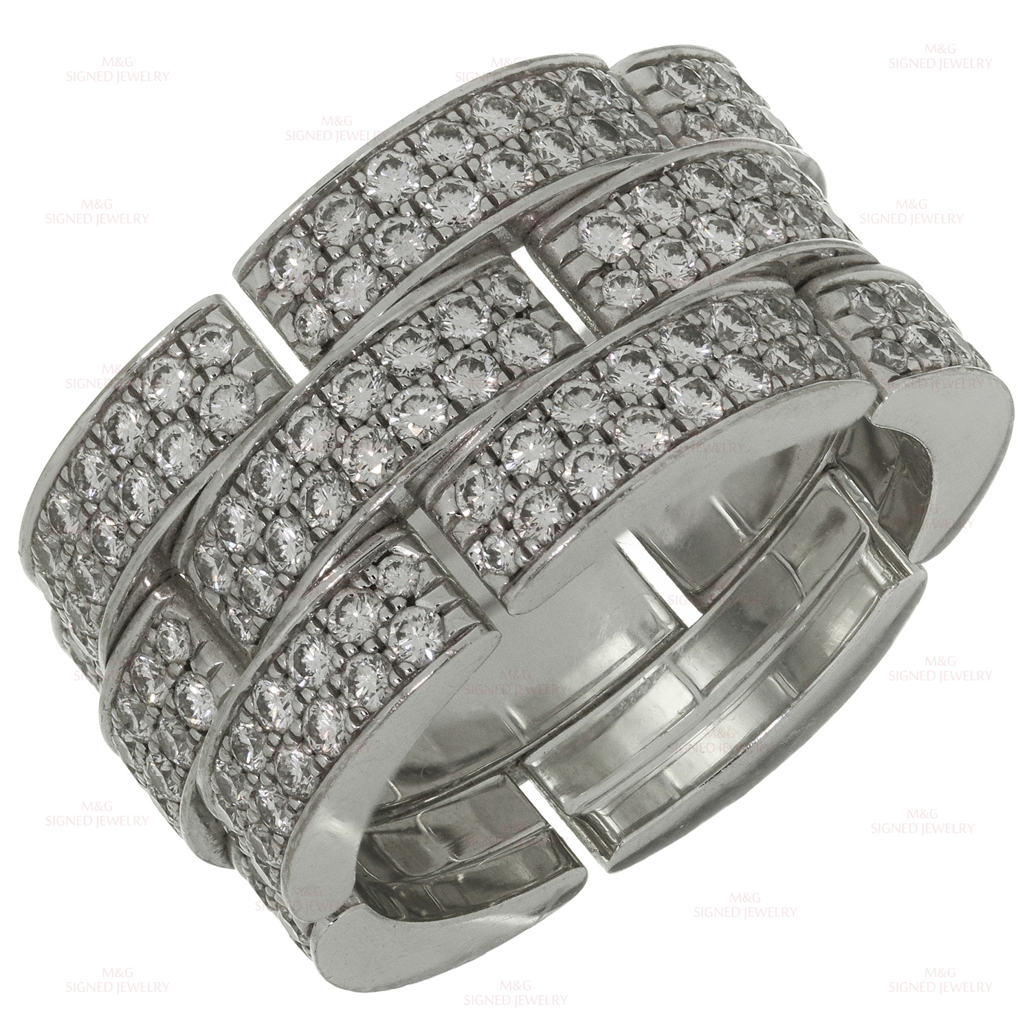 CARTIER Maillon Panthere Diamond 18k White Gold XX Large 3-Row Band Ring