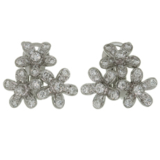 VAN CLEEF & ARPELS Socrate Diamond 18k White Gold 3 Flower Earrings