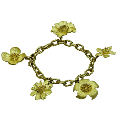 TIFFANY & CO. Perennial Dogwood Charms 18k Yellow Gold Bracelet