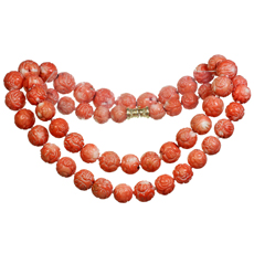 Large Round Bead Carved Coral Necklace with 14k Gold Clasp