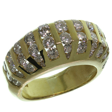 Channel-Set Diamond Domed 18k Yellow Gold Estate Ring