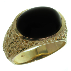 Oval Black Onyx 14k Nugget Yellow Gold Estate Men's Ring