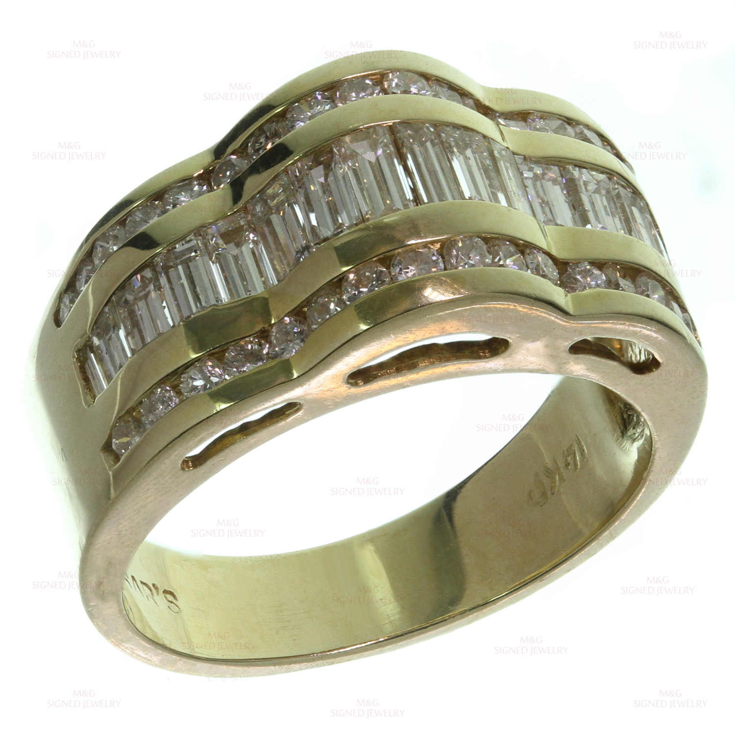 Domed Wave Diamond 14k Yellow Gold Ring