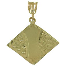Diamond-Cut 14k Solid Yellow Gold Rhombus-Shape Pendant