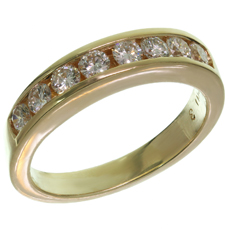 Channel-Set Diamond 14k Yellow Gold Band Ring