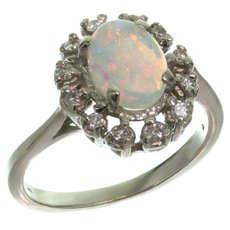 Estate Classic 14k White Gold Opal Diamond Ring