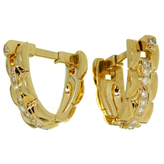 CARTIER Maillon Panthere Diamond 18k Yellow Gold Stirrup Cufflinks
