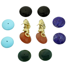 Multicolor Interchangeble Gemstone 18k Yellow Gold Earrings