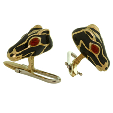DAVID WEBB Ruby Enamel 18k Yellow Gold Horse Head Shirt Stud Set