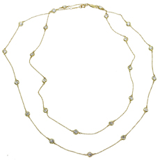 TIFFANY & CO. Elsa Peretti Diamond By The Yard Long Platinum Necklace