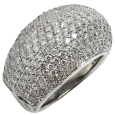 Pave Diamond 18k White Gold Domed Ring
