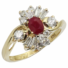Ruby Diamond 14k Yellow Gold Ring