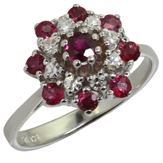 Ruby Diamond 18k White Gold Ring