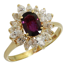 Wine Red Garnet Marquise Diamond 14k Yellow Gold Ballerina Ring