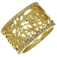 CHANEL Camelia Ajoure Rose Diamond 18k Yellow Gold Band Ring