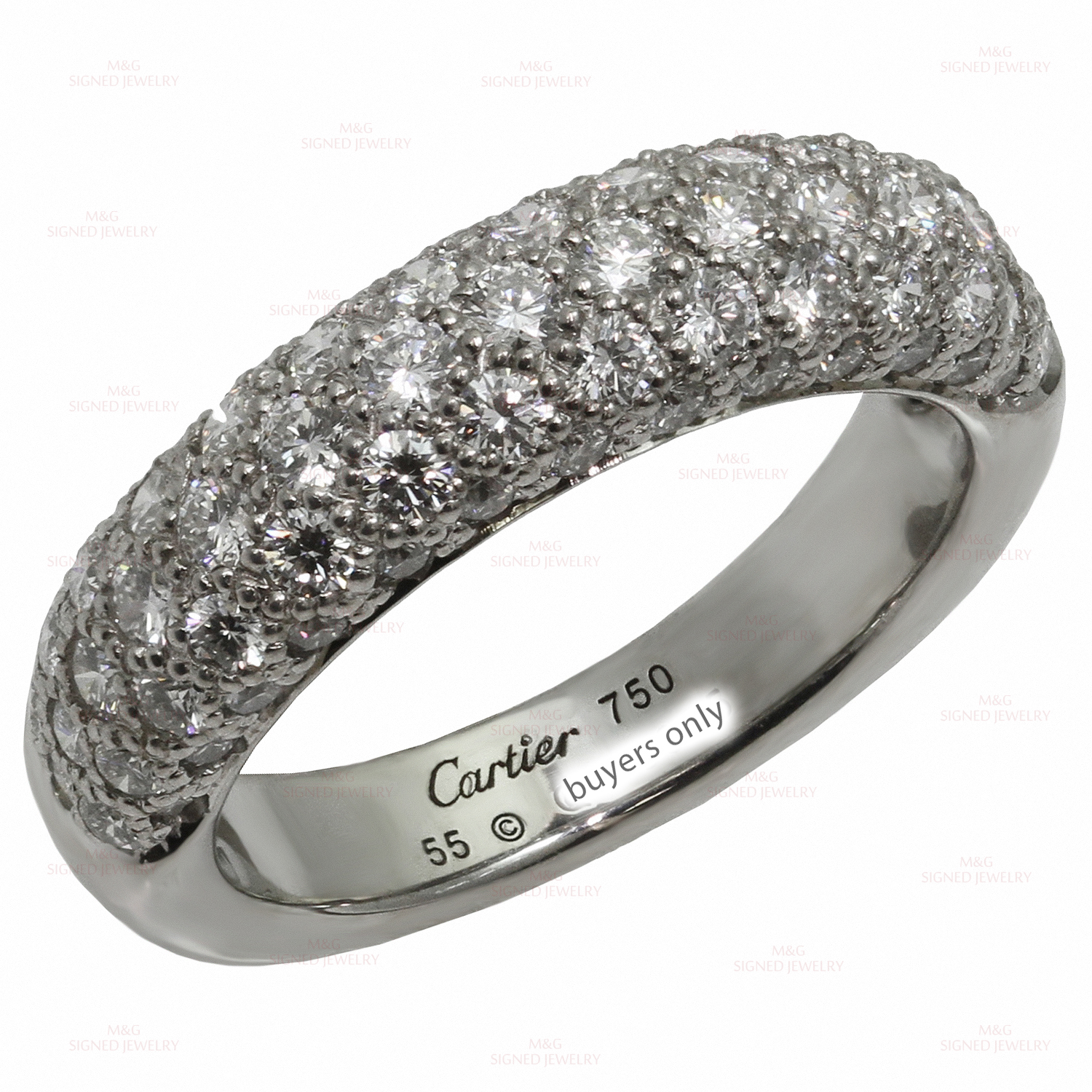 CARTIER Diamond 18k White Gold Band Ring