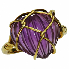 CHRISTIAN DIOR Carved Amethyst Heart 18k Yellow Gold Ring