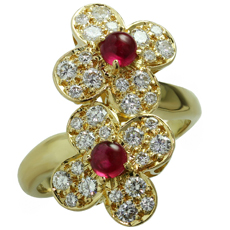 VAN CLEEF & ARPELS Trefle Diamond Ruby 18k Yellow Gold Double Flower Ring
