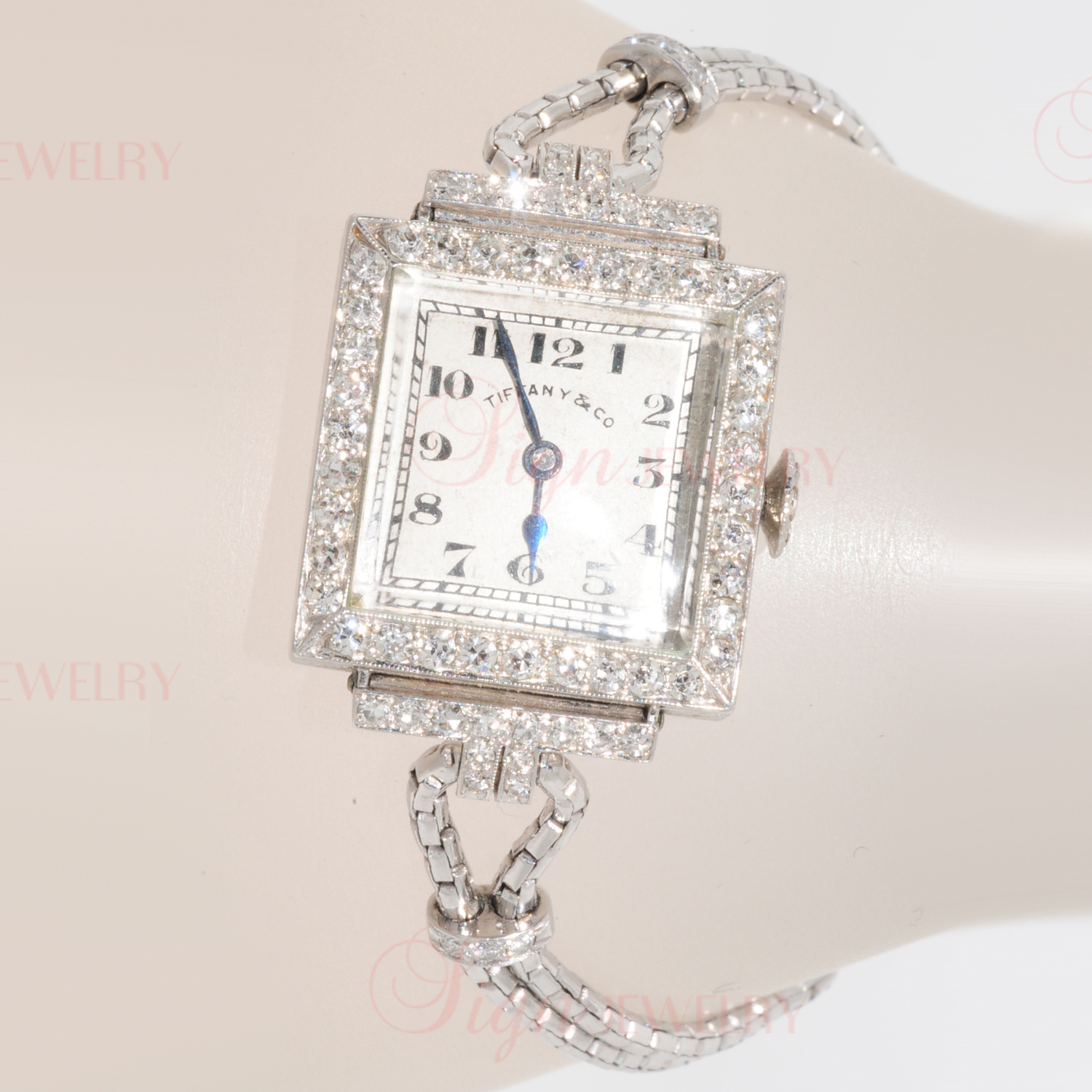 TIFFANY & CO. Art-Deco Platinum Diamond Watch