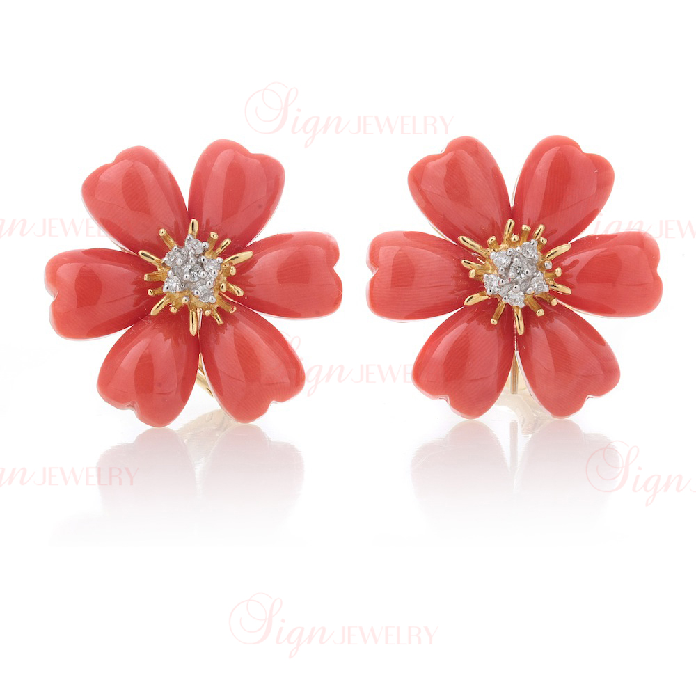 Genuine Ox Blood Coral and Diamond Flower Clip-On Earrings