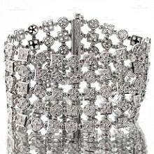 Diamond 18k White Gold Wide Flexible Bracelet