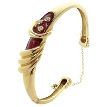 Diamond Red Enamel 14k Yellow Gold Bangle Bracelet