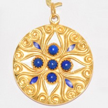 Hand-Made Lapis Lazuli Enamel 18k Yellow Gold Pendant