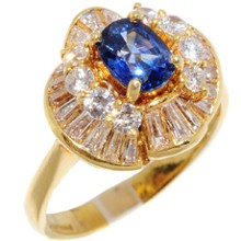 Diamond Sapphire 18k Yellow Gold Cocktail Ring