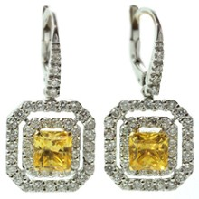 Diamond Yellow Sapphire 18k White Gold Earrings