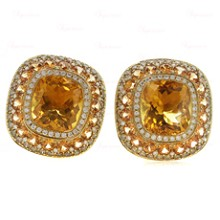 Diamond Sapphire Citrine 18k Yellow Gold Earrings