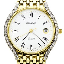 GENEVA Swiss 14k Yellow Gold Diamond Unisex Dress Watch