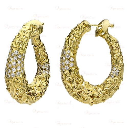 VAN CLEEF & ARPELS Textured 18k Yellow Gold Diamond Hoop Earrings