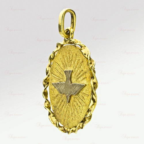 CARTIER Vintage Two-Tone 18k Gold Holy Ghost Dove Medallion Pendant