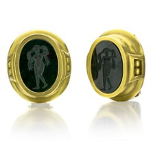 KIESELSTEIN-CORD 18k Yellow Gold Green Agate Intaglio Earrings