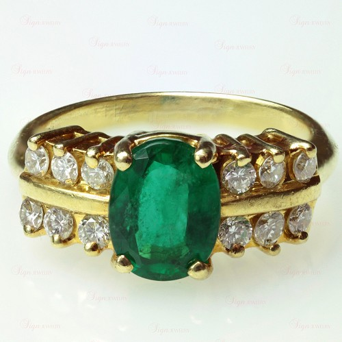 FORTUNOFF Diamond Emerald 18k Yellow Gold Ring