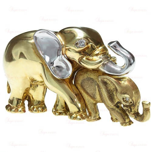 Diamond 18k Yellow & White Gold Mother & Cub Elephants Brooch
