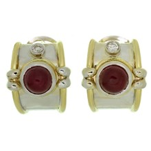 Diamond Cabochon Ruby 18k White & Yellow Gold Wrap Earrings