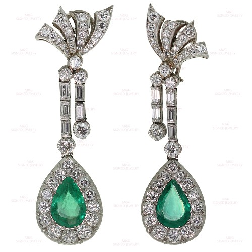 Hand-Made Diamond Emerald Platinum Drop Earrings